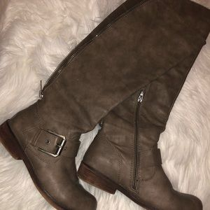 Grey/ light brown riding boots